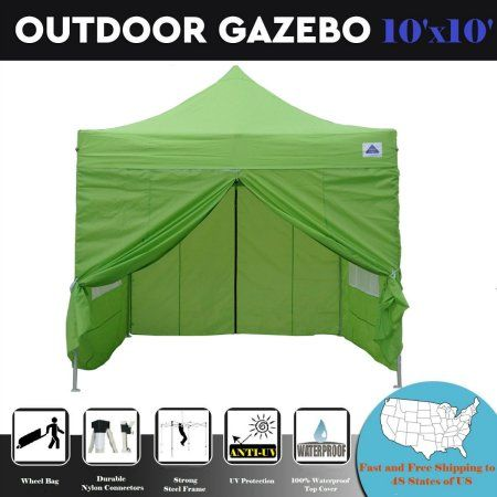 10 X10 Pop Up 4 Wall Party Tent Canopy Gazebo Ez Emerald F Model Upgraded Frame By Delta Canopies Outdoorwedd Outdoor Tent Party Party Tent Outdoor Gazebos