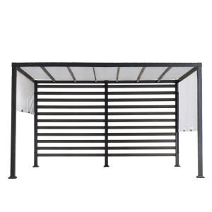 Sunjoy Sandy 12 Ft X 10 Ft Modern Steel Pergola With White Adjustable Shade A106006400 The Home Depot In 2020 Steel Pergola Pergola Canopy Pergola