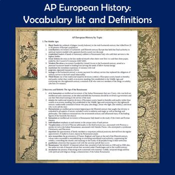 Ap Euro Vocabulary List And Definitions Ap European History Vocabulary List Vocabulary