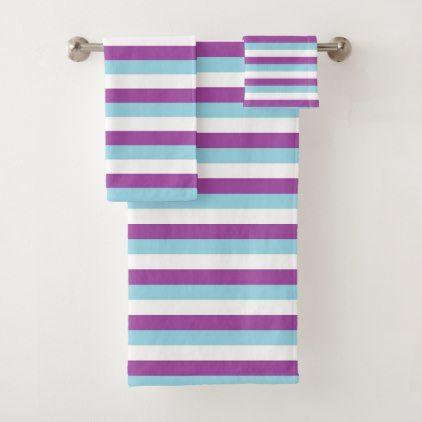 Purple Pastel Blue And White Stripes Bath Towel Set Zazzle Com
