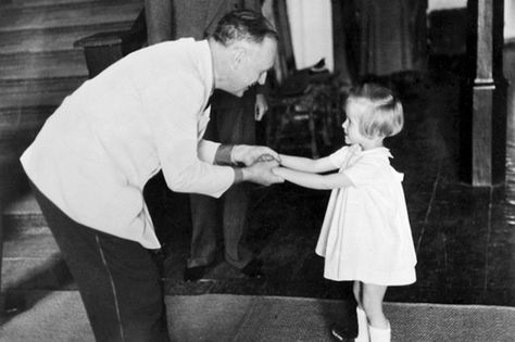 Joachim von Ribbentrop holds the hands of future famous German model Veruschka. A little later she will lose her father, Heinrich Graf von Lehndorff-Steinort. He was executed for his participation in 20 July plot.