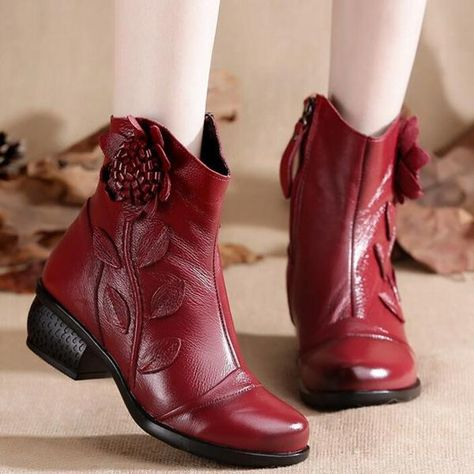 2f8c8e52b ByChicStyle Women's Boots Mother Folk Style Winter Ankle Boots Vintage Women  Genuine Leather Boots