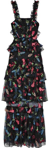 She Moves Me Tiered Ruffled Embroidered Tulle Maxi Dress - Black Alice McCall 20ZvQLPA4e