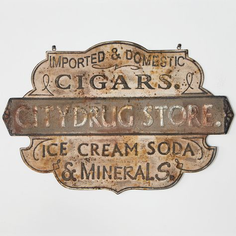 """If you're looking to add a little charm & vintage appeal to your home, our Rusted Drug Store Sign will look great on any wall. Embossed aged metal. (26""""H x 39""""W) Antique Signs, Vintage Metal Signs, Western Signs, Decoupage, Storefront Signs, Antique Vanity, Antique Lamps, Restaurant Signs, Vintage Room"""