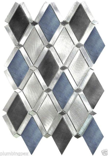 Diamond Blue Black Aluminum Kitchen Bath Wall Mosaic Backsplash Tiles 1 Sheet Tile Backsplash Kitchen And Bath Backsplash