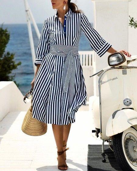 Ericdress Striped Pocket Lapel A-Line Date Night Fashion Dress,