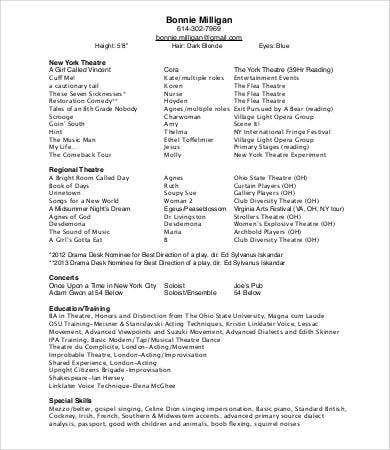 10theatre Resume Templates Pdf Doc Free Premium Cv Template Cv Design Template Teacher Resume Template