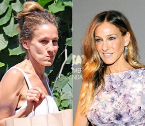 Sarah Jessica Parker with and without makeup. If you want to feel like a celeb with your own personal makeup artist, contact me for a free makeover in central Louisiana or find a Fleur de Vie advisor near you at www.