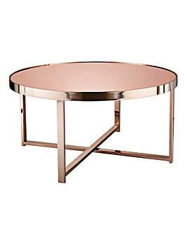 Ayla Rose Gold Mirrored Coffee Table Mirrored Side Tables