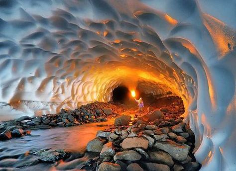 Incredible Ice Cave Inside The Mutnovsky Volcano, Russia.-   Photo Credit: Michael Zelensky