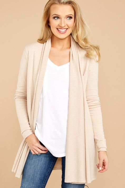 Comfy Beige Cardigan - Open Front Cardi - Sweater - $36.00 – Red Dress Boutique