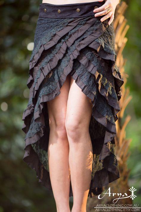 Gypsy Bohemian Hippie Skirt (Black) - Festival Bohemian Boho Hippie Fairy Goa Sexy Adjustable Wrap Around Layer Lace Crochet Nomadic