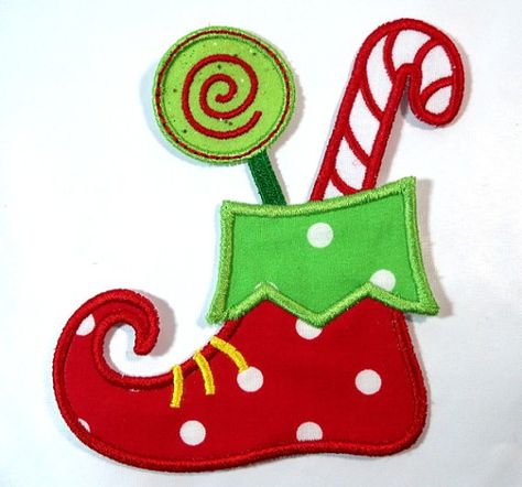 Items similar to Candy Elf Shoe iron on applique -  DIY iron on patch - Sew or No Sew patch applique - Personalized Monograming - U pick colour on Etsy