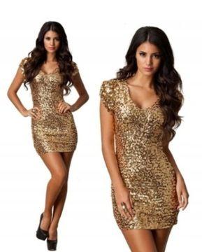 Zlota Cekiny Olowkowa Sukienka S M L 7758764505 Oficjalne Archiwum Allegro Cocktail Dress Dresses Fashion