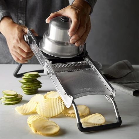 Once you've used a French mandoline, nothing else matches its precise, uniform cuts when slicing fruits and vegetables. This advanced mandoline from De Buyer has a dicing blade for creating perfect cubes in addition to a variety of cuts, from neat… Custom Moped, Custom Choppers, Cooking Gadgets, Cooking Tools, Kid Cooking, Choppers Personalizadas, Restaurant Kitchen Equipment, Electric Skillet Recipes, Must Have Kitchen Gadgets