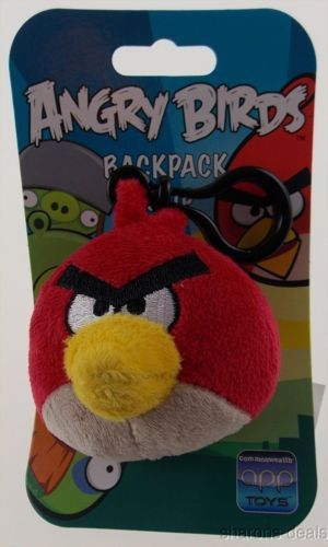 Lot 2 Angry Birds Backpack Zipper Clip Pull Red Plush 3