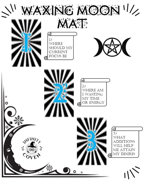 This Tarot Mat Digital Download is only $2.00 and was designed to complement your Tarot reading practice. These questions will help to guide your way through the powerful Waxing Moon phase. We also offer a laminated version of this mat to protect it from all the things you use in your tarot craft; water, oils, candle wax, herbs etc. #JoinInfinityCoven #InfinityCoven #TarotMat #TarotSpread #Tarot #TarotPractice #TarotLayout #TarotReader #Witch #Divination #WaxingMoon