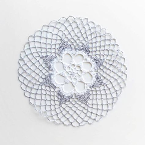 Medium Gray White Crochet Doily, lace doily, home decor, table decoration, handmade, center piece. Diameter about 10,4 ( 26 cm). This Doily will be wonderful gift and adorable decoration at your home. Use as a table decoration for any occasion, wedding, birthday, anniversary.