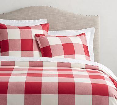 Buffalo Check Duvet Cover Amp Sham Red Black Potterybarn Red Duvet Cover Simple Bedroom Design Sham Bedding
