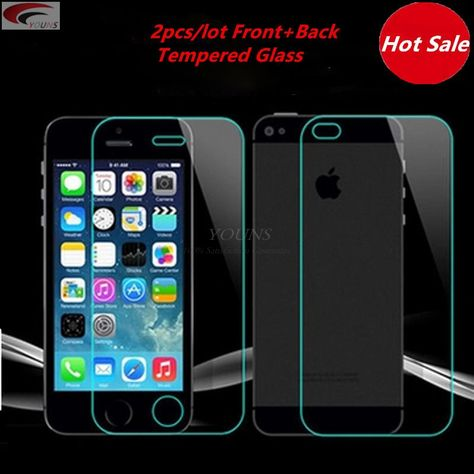 f292e6a8e96 2pcs lot front back Tempered Glass For iPhone 5 5S 6 6s plus 4 4S Screen  Protector Film Full Body Glass On the For iPhone 5S SE     Busque la  oferta