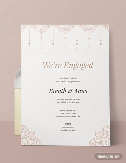 Elegant Invitation Template Free Pdf Word Doc Psd Apple Mac Pages Illustrator Publisher Engagement Invitation Cards Engagement Invitation Card Design Invitation Template