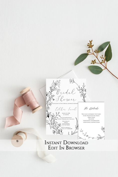 Floral Bridal Shower Invitation Template | Vintage Bridal Shower Invitation Printable | Instant Download | Wreath | Bride to be | PDF