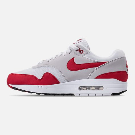 promo code fee46 e58f6 Left view of Men s Nike Air Max 1 Anniversary Casual Shoes in White University  Red Neutral Grey