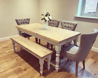 Farmhouse Dining Table With Reclaimed Wood Top And Bench Made To Measure In Any Size Shabby Chic Farrow Ball Painted 6 Or 8 Seater Trendy Farmhouse Kitchen Dining Table With