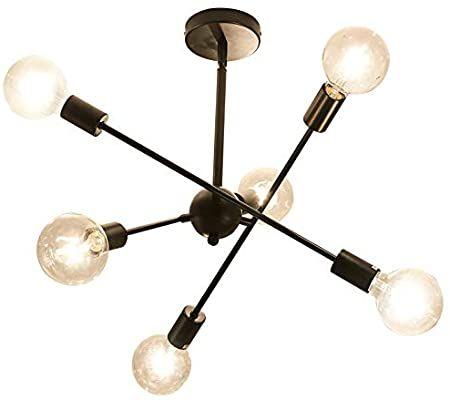 JHLBYL Sputnik Chandelier Ceiling Lamp 6 Lights Modern Vintage Black Pendant Light Fitting Hanging for Bedroom Living Room Dining Room
