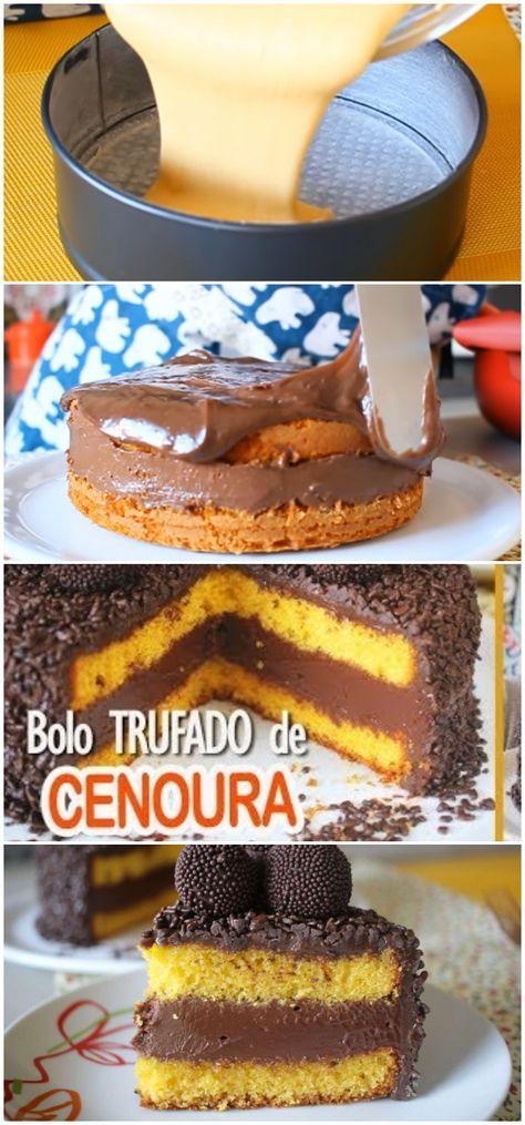 Bolo De Cenoura Trufado Bolo De Chocolate Trufado Drinks