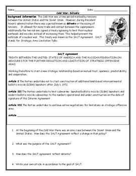 Salt Agreement Detente Worksheet With Answer Key History