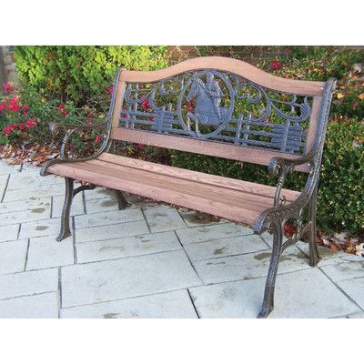 Oakland Living Horse Wood And Cast Iron Park Bench Metal Garden Benches Outdoor Rocking Chairs Wooden Garden Benches