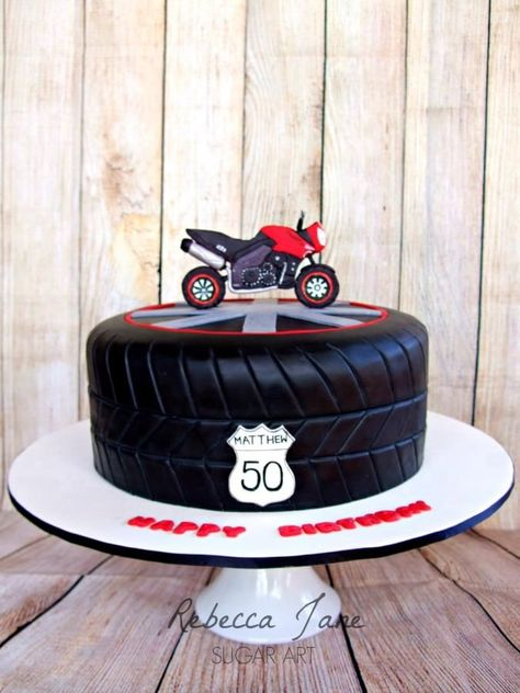 Motorbike tyre cake - Cake by Rebecca Jane Sugar Art