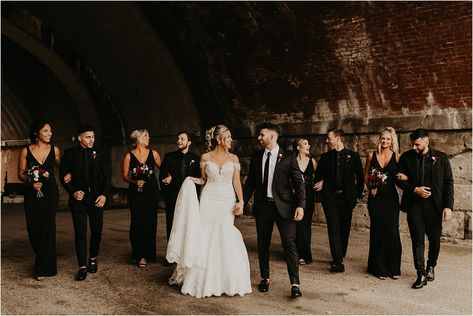 Ummm this bridal party is unreal! How are they all so dang attractive? Loved taking photos of this edgy and glam bridal party rocking black wedding attire. Cute Bridesmaid Dresses, Black Bridesmaids, Wedding Party Dresses, Wedding Attire, Edgy Wedding, Dream Wedding, Minimal Wedding, Groomsmen Wedding Photos, Rustic Groomsmen Attire
