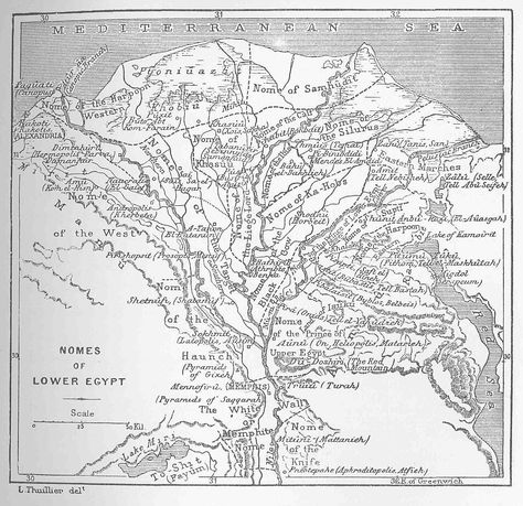 Map Of The Nile Delta With Ancient Names Of Cities Towns Etc - Map of egypt delta