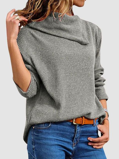 Dresswel Women Asymmetric Neck Long Sleeve Solid Color Ribbed Knit Sweater Pullover Tops