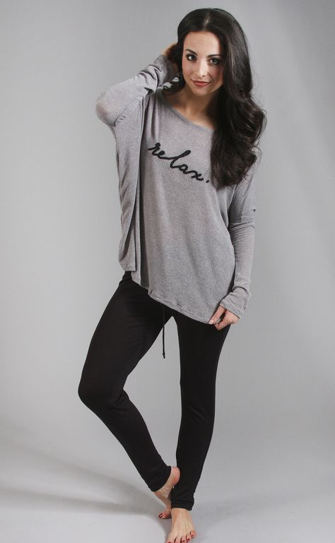 relax ribbed oversized top - grey