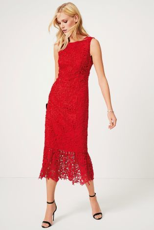 0540656a2174b Buy Red Peplum Hem Lace Midi Dress from the Next UK online shop ...