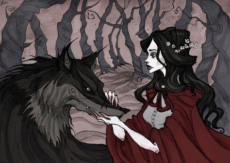 Little Red Riding Hood, Abigail Larson Arte Horror, Horror Art, Dark Fantasy, Fantasy Art, Character Art, Character Design, Abigail Larson, Lisbeth Zwerger, Psychedelic Drawings