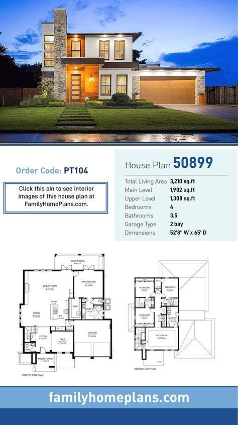 Plan 50899 Modern Style House Plans Modern House Floor Plans House Layout Plans