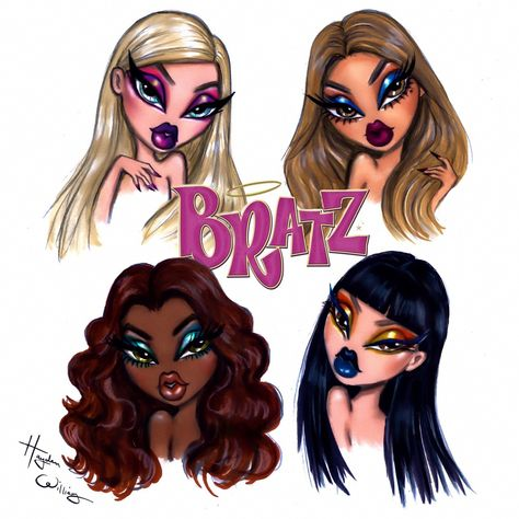 Hayden Williams - I was inspired by the viral to create some glam makeup looks for the only girls with a Which look is your fave? Bratz Doll Makeup, Bratz Doll Outfits, Barbie Clothes, Black Girl Cartoon, Black Girl Art, Hayden Williams, Cartoon Kunst, Cartoon Art, Cool Art Drawings