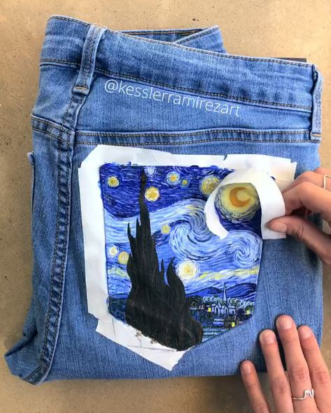 The Starry Night by Vincent Van Gogh is always one of my favorites to paint. ✨💙 This is now the 5th time I've painted it on denim!  Painted pocket, painted jeans, Van Gogh, Starry Night painting, Van Gogh painting, tape peel, satisfying video