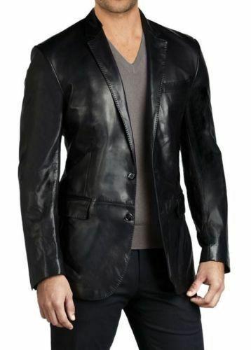 Mens Biker Leather Blazer Jacket Short Lambskin Zipper Closure Winter Cover Ups