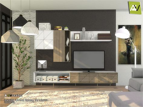 The Sims 4 Escuda Living Room TV Units | Sims 4 kleinkind ...