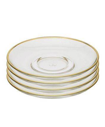 Classic Touch Set Of 6 Glass Plates With Rim Leggings Are Not Pants Dresses With Leggings Sock Shoes