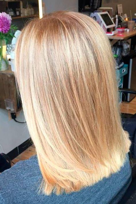 butter blonde - balayage - hair painting - sandy blonde - bright blonde - shiny - medium length haircut - smooth - blunt long bob I like this cut!