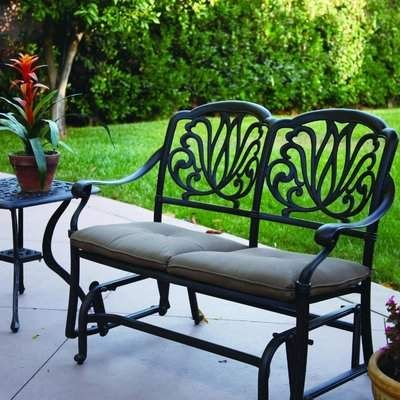 Darby Home Co Kristy Glider Bench Patio Furnishings Outdoor Wicker Furniture Modern Patio Furniture
