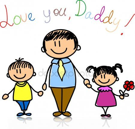 Familia Feliz Fathers Day Poster Dad Day Childrens Drawings