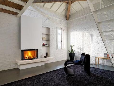 wohnzimmer grau graue akzentwand steine kamin weiße wände - auffallige wohnzimmer einrichtung frischekick