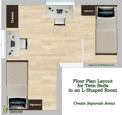 How To Position Twin Beds To Create Separate Areas In A Room Bedroom Furniture Inspiration Funky Bedroom Decor Floor Plan Layout